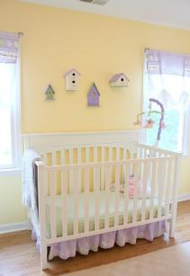 Yellow nursery in Cary NC with walls in Benjamin Moore Lighthouse Complimentary colors birdhouses
