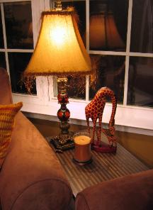 Durham NC safari style accessories, giraffe and lamp Red Chair Home Interiors