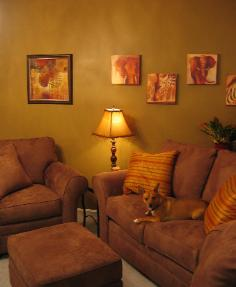 Durham NC living room with brown microsuede Broyhill loveseat and chair and safari style accessories