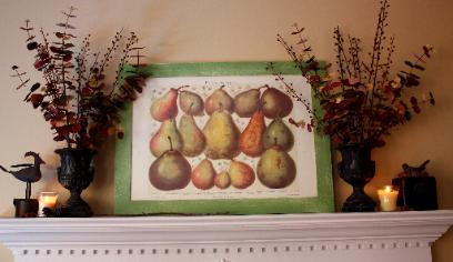 fall mantel with pears print by Red Chair Home Interiors