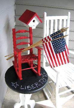4th of July porch decor in Cary, NC with chalkboard table from Red Chair Home Interiors
