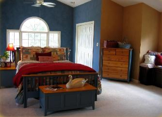 Apex NC master bedroom featuring bold colors