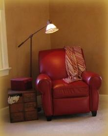 Red leather chair in bedroom in Apex NC Red Chair Home Interiors