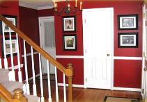 Red foyer in Cary, NC.  Wall color is Ralph Lauren Chimayo Red