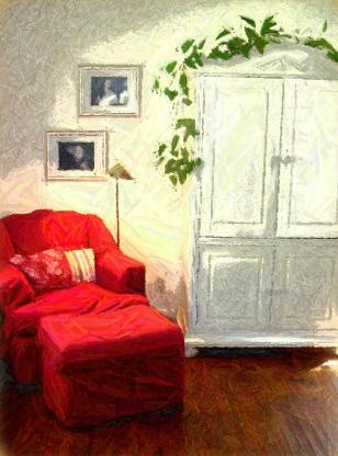 Red chair and ottoman with white cottage style armoire Red Chair Home Interiors