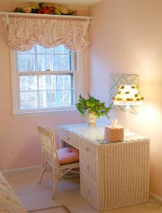 Femenine wicker desk and pink walls in Durham, NC retreat center Red Chair Home Interiors